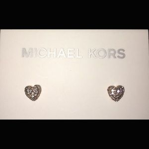 MK rhinestone rose gold studded hearts